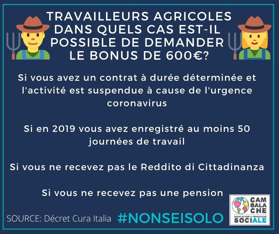 CORONAVIRUS. Lavoratori agricoli, in quali casi è possibile richiedere il bonus da 600€?