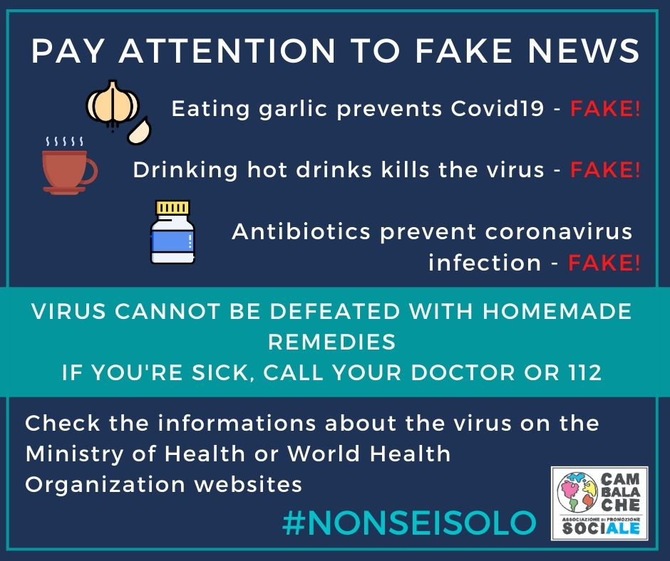 CORONAVIRUS. Attenzione alle fake news! Pay attention to fake news! Aux faux nouvelles!