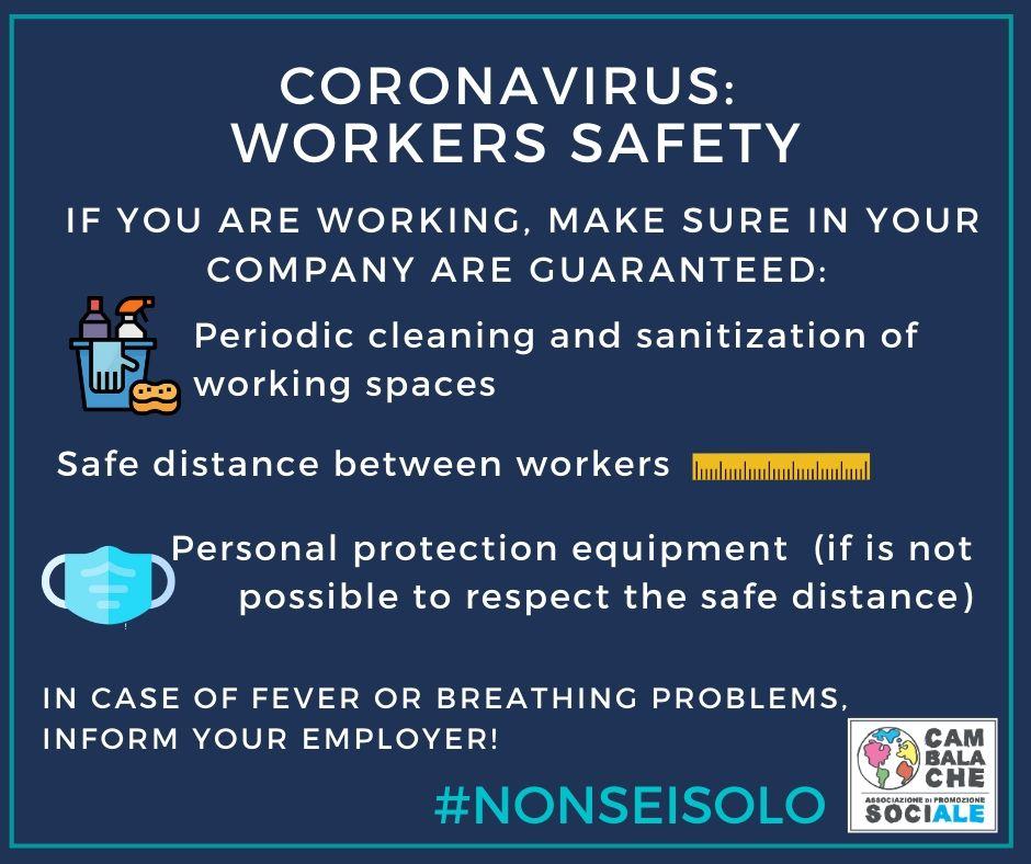 CORONAVIRUS: Tutela dei lavoratori – Workers safety – Protection des travailleurs