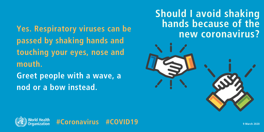 CORONAVIRUS – Strette di mano, saluti e utilizzo dei guanti