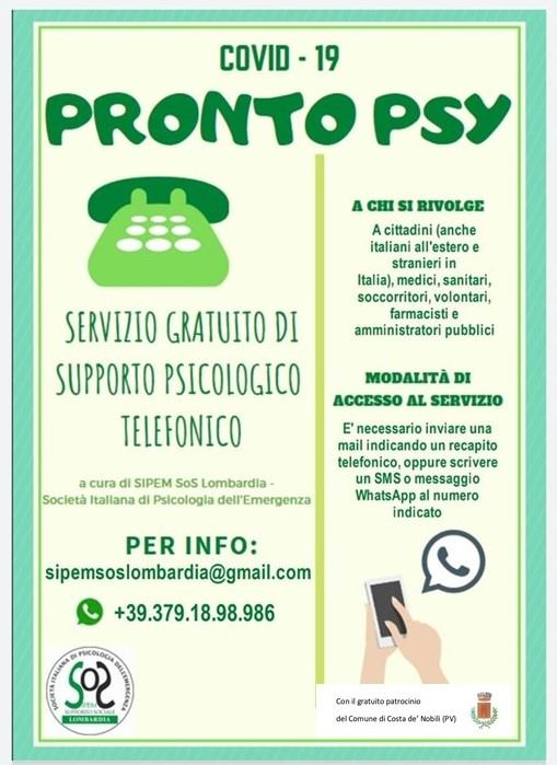 CORONAVIRUS – Linea telefonica per assistenza psicologica gratuita