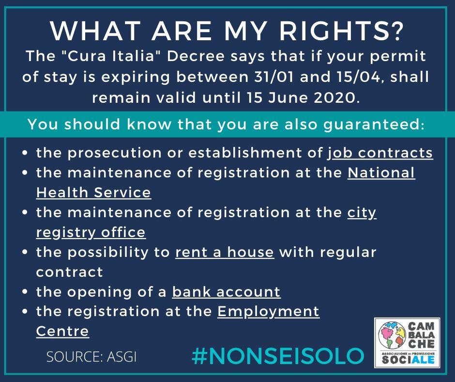 CORONAVIRUS. Quali sono i miei diritti? What are my rights? Quels sont mes droits?
