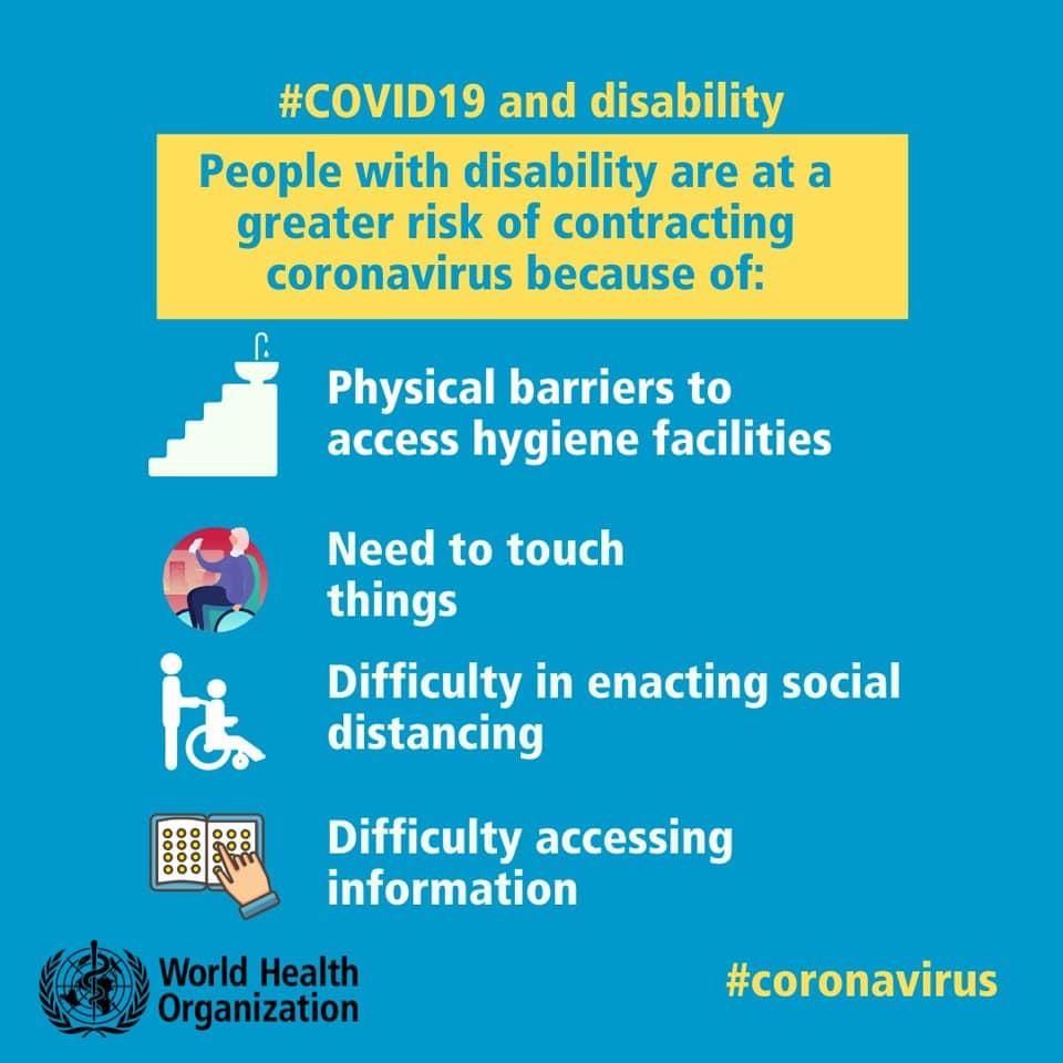 CORONAVIRUS. Le persone disabili sono maggiormente a rischio