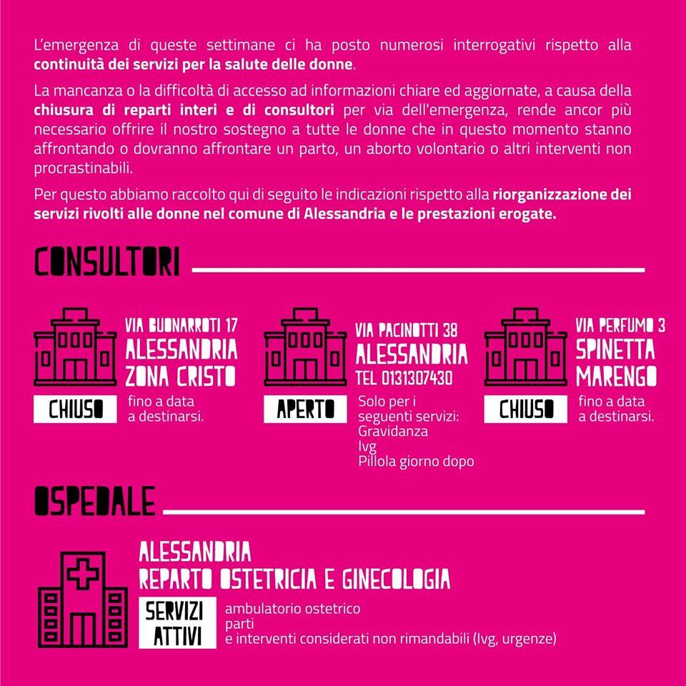 CORONAVIRUS. Emergenza e donne, quali sono le prestazioni garantite e i servizi nel Comune di Alessandria