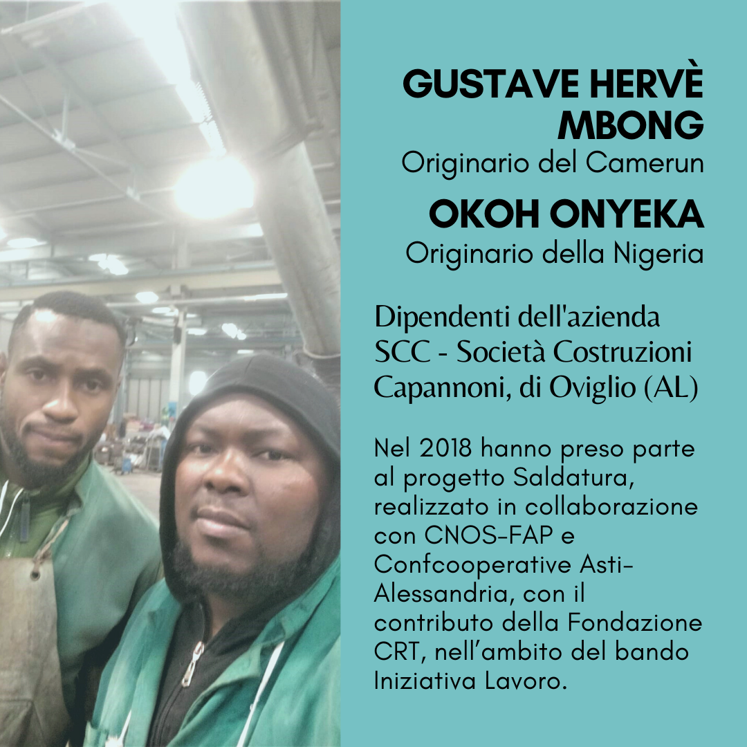 Gustave e Okoh, amici e colleghi con un futuro nella saldatura