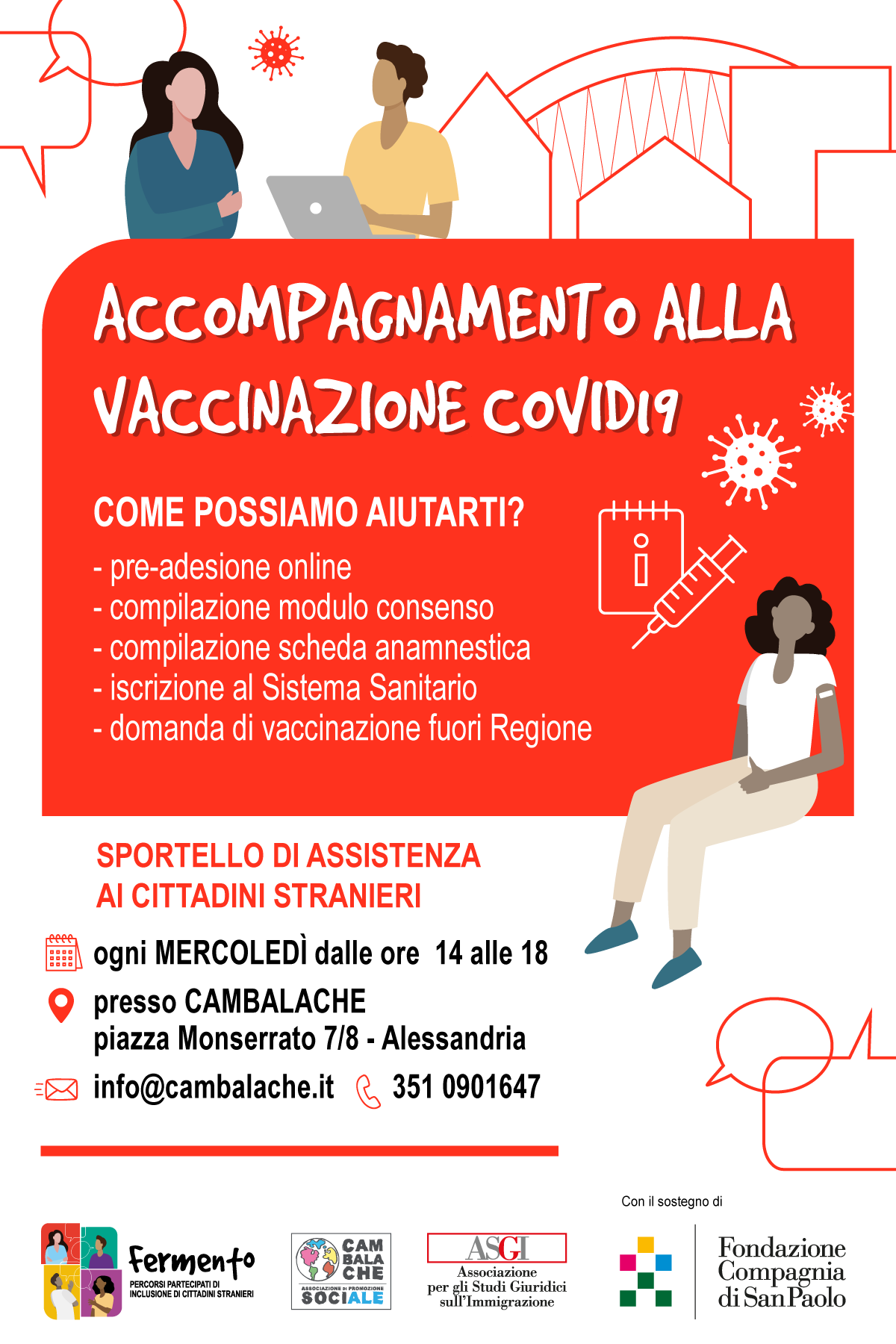 Accompagnamento alla vaccinazione Covid19 presso lo Sportello di Cambalache